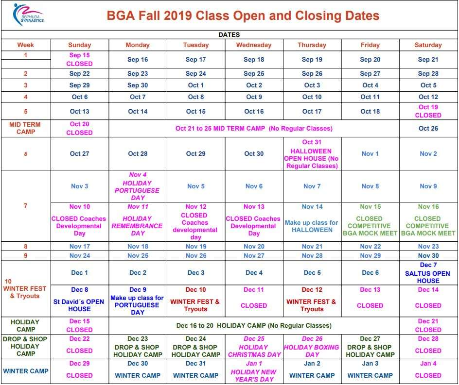 fall 2019 tables dates